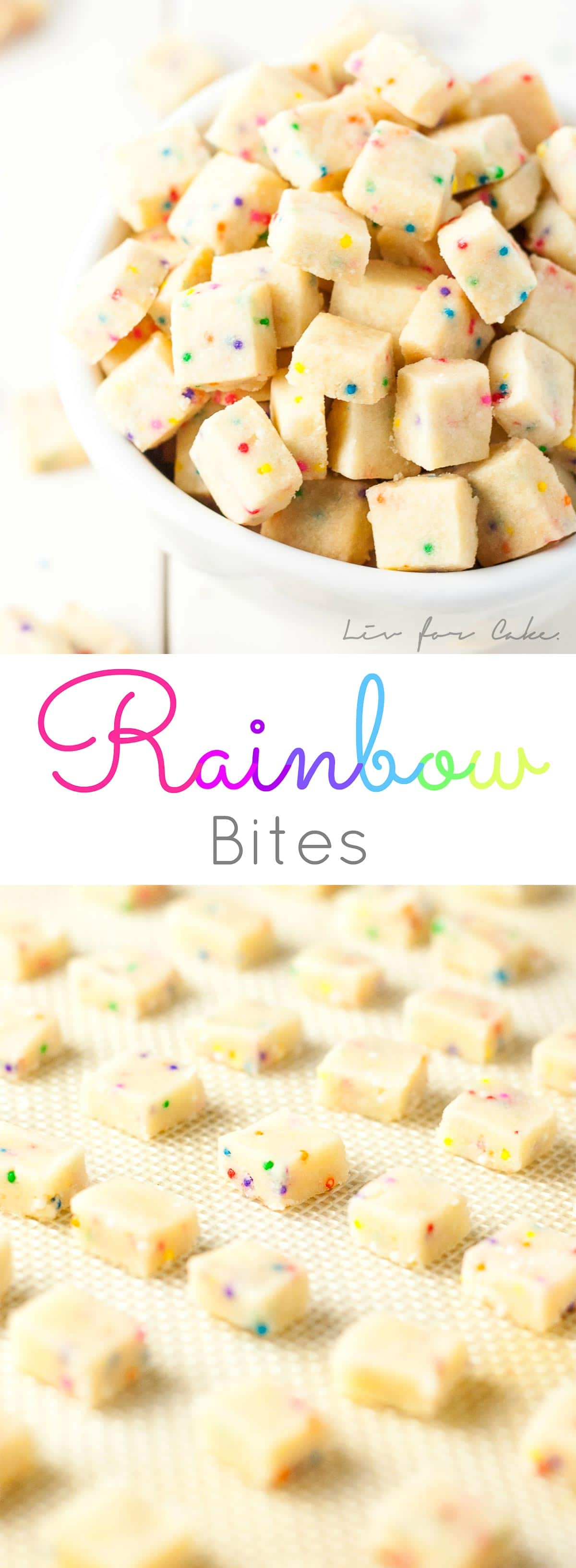 Teeny tiny shortbread bites studded with rainbow sprinkles. So addictive, the kids will love these! A simple change in the color of the sprinkles and you're set for any holiday or event. | livforcake.com