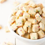 Teeny tiny shortbread cookies studded with rainbow sprinkles. So addictive, the kids will love these! You can change up the color of the sprinkles for different events - baby showers, holidays, etc. | livforcake.com