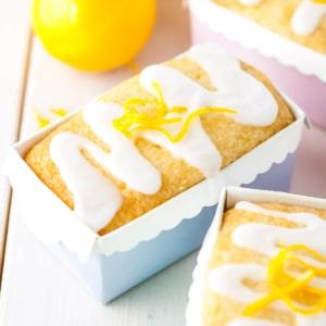 Three mini lemon loaves in pastel liners.