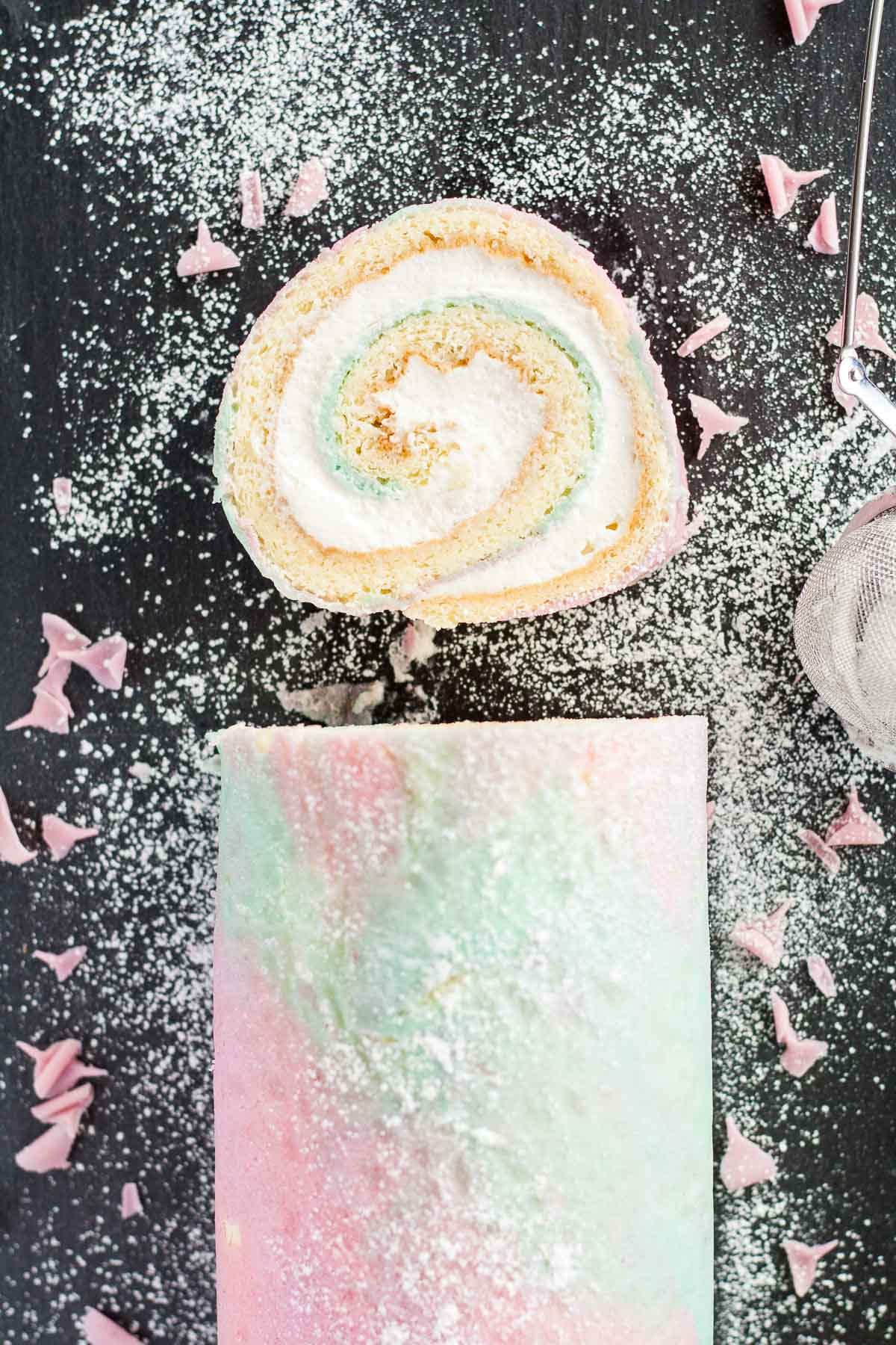 An easy way to fancy up a classic swiss cake roll with a pretty watercolor pattern. | livforcake.com