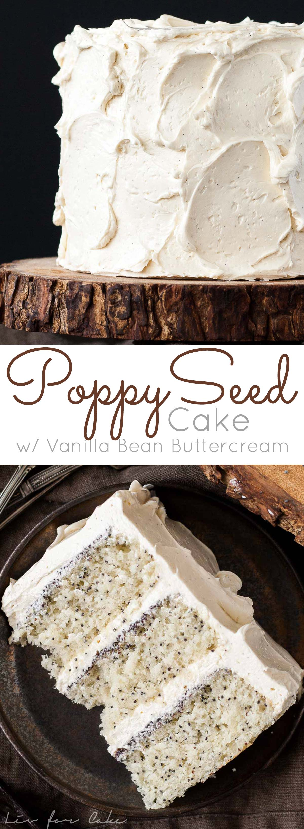 A speckled Poppy Seed Cake paired with a silky vanilla bean buttercream. | livforcake.com