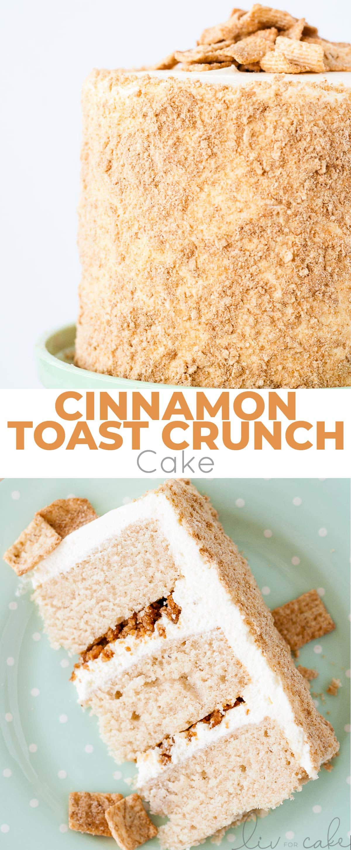 Cinnamon Toast Crunch Cake photo collage.