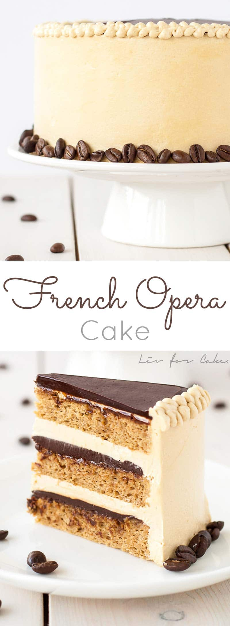 French Opera Cake! A modern take on a French classic, this decadent Opera cake is rich, chocolatey, and packed with espresso flavour. | livforcake.com