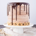 Nutella Banana Cake! Layers of fluffy banana cake, silky Nutella buttercream, and crunchy hazelnut meringue. | livforcake.com