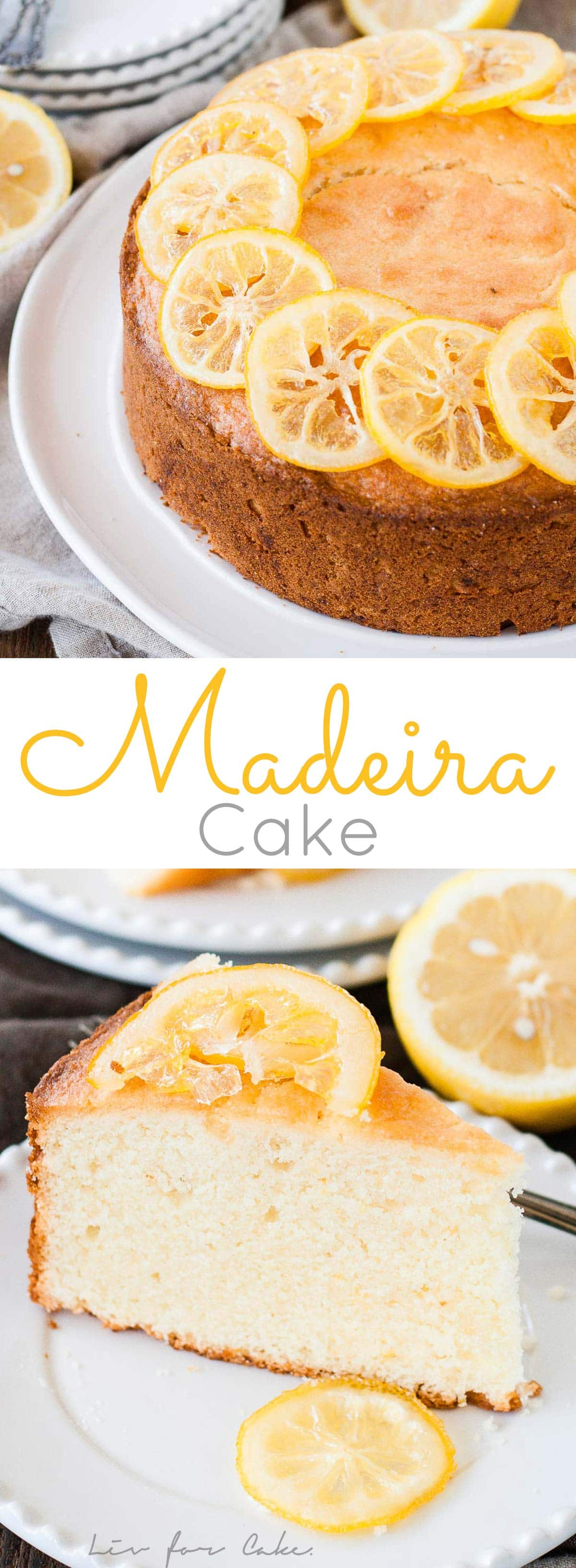 This classic English Madeira Cake is the easiest dessert you will ever make. Lightly flavoured with lemon and topped with candied lemon slices.   livforcake.com