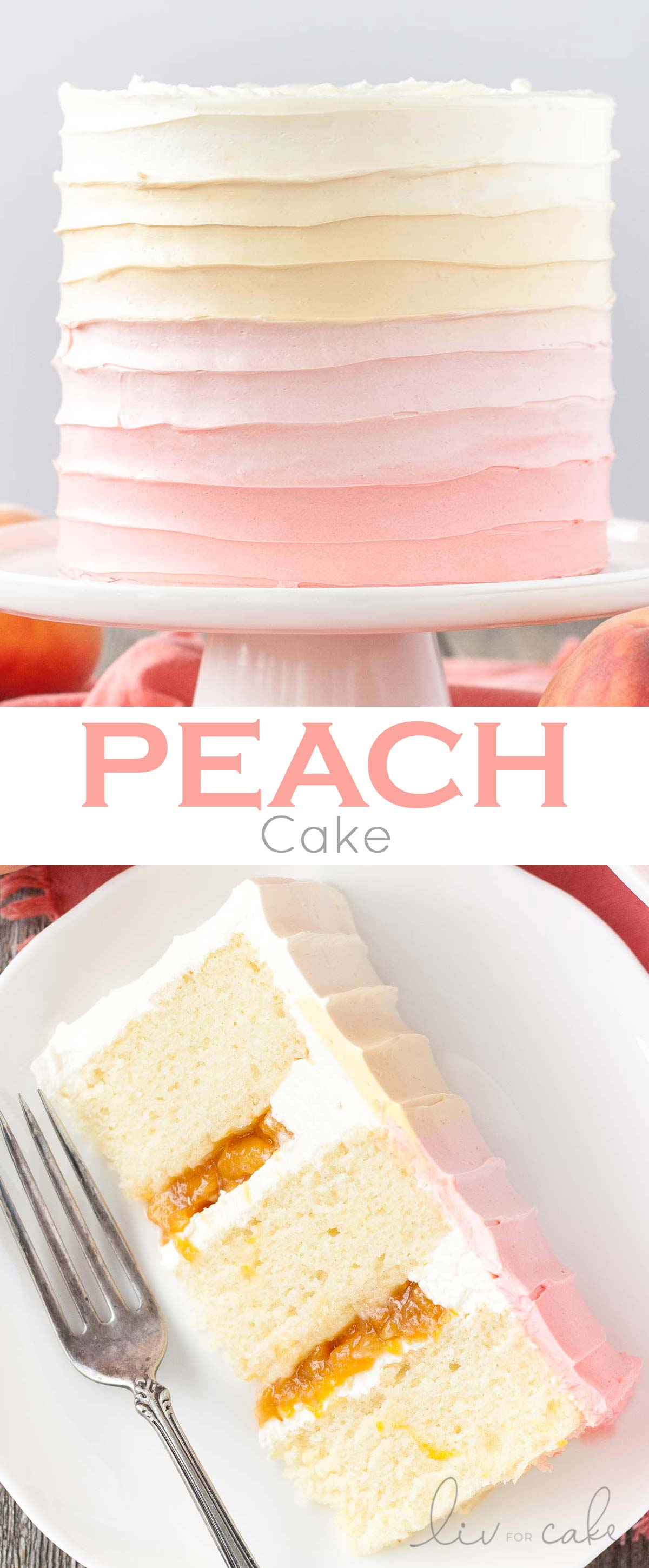 Peach cake image collage.