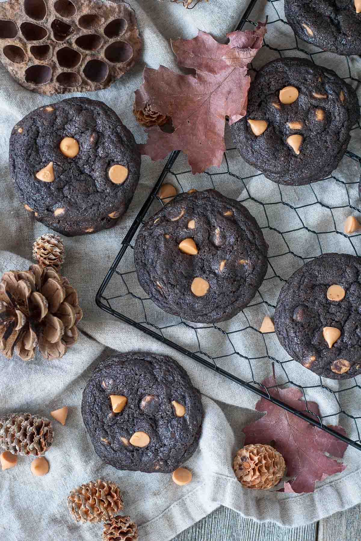 Dark Chocolate Butterscotch Cookies! Loaded with butterscotch chips and sprinkled with sea salt. | livforcake.com