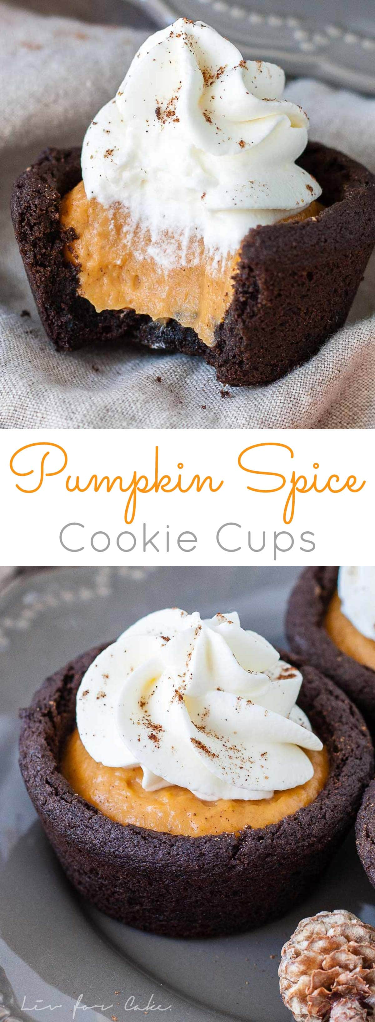 Satisfy your Fall cravings with these easy Pumpkin Spice Cookie Cups! Chewy chocolate cookie cups filled with pumpkin pudding and topped with whipped cream. | livforcake.com
