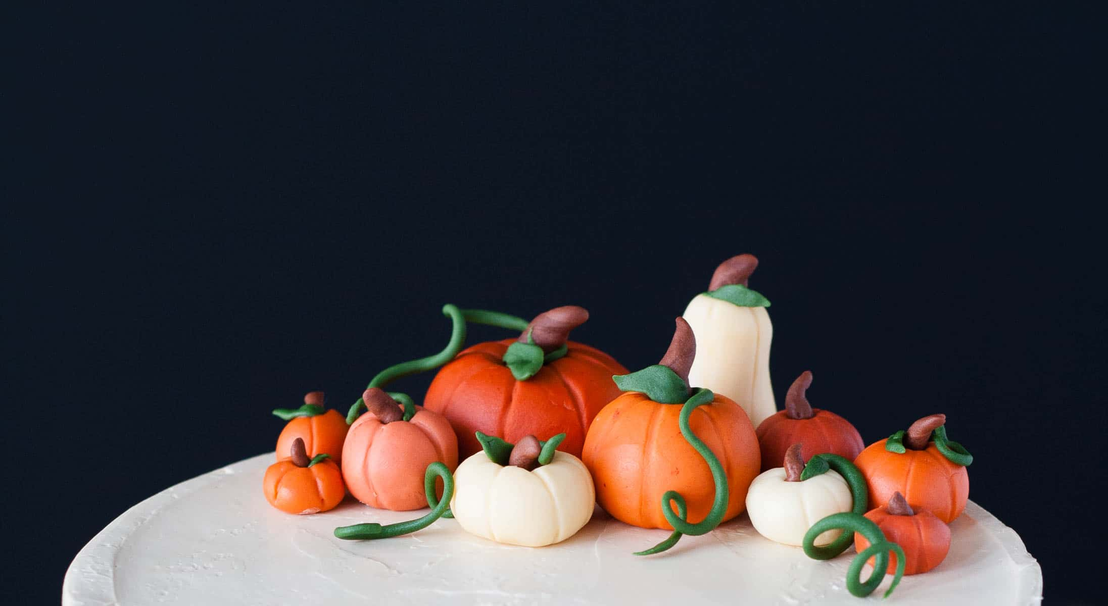 Close up of fondant pumpkins