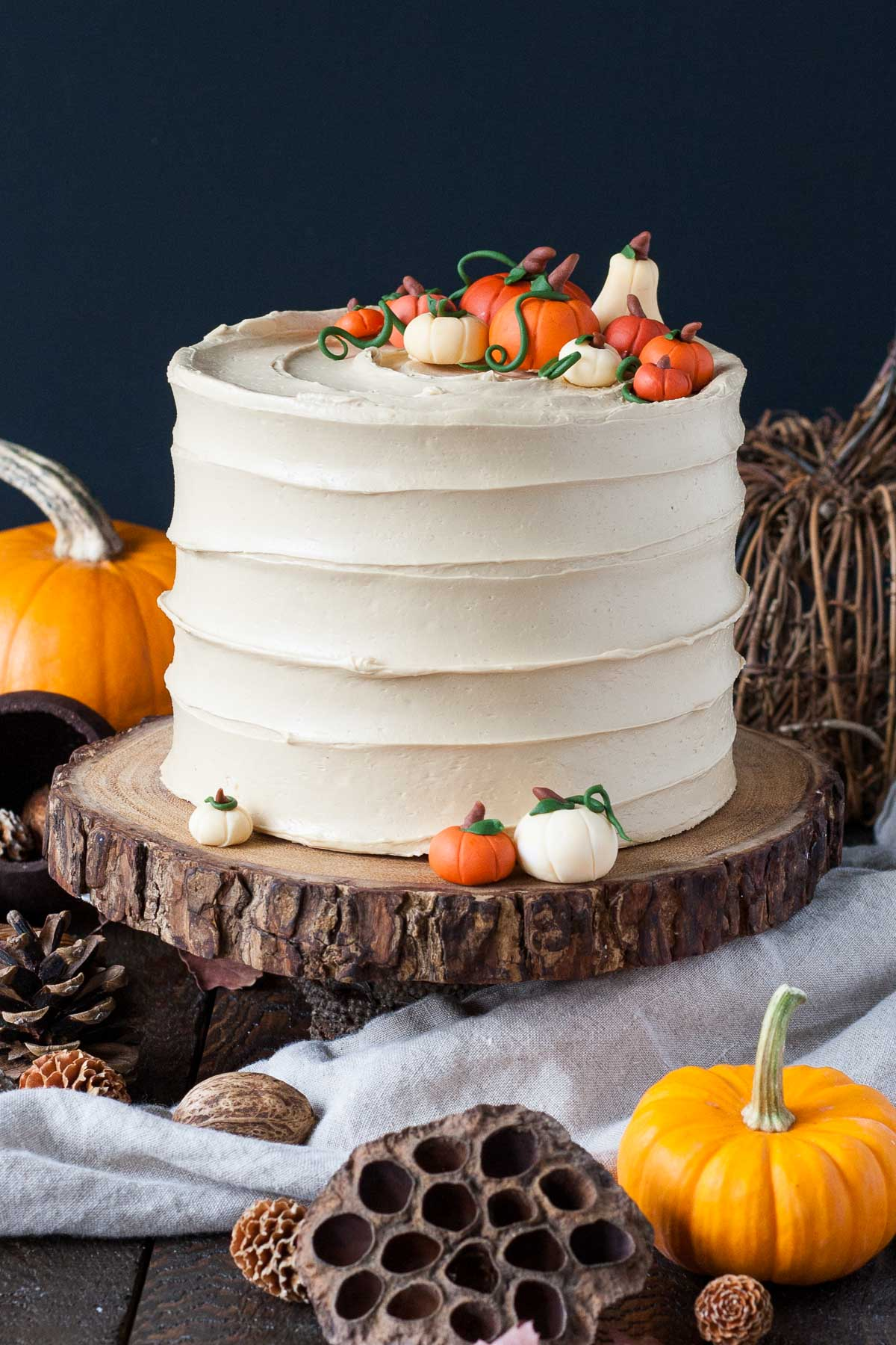 Pumpkin Spice Latte Cake with fondant pumpkins