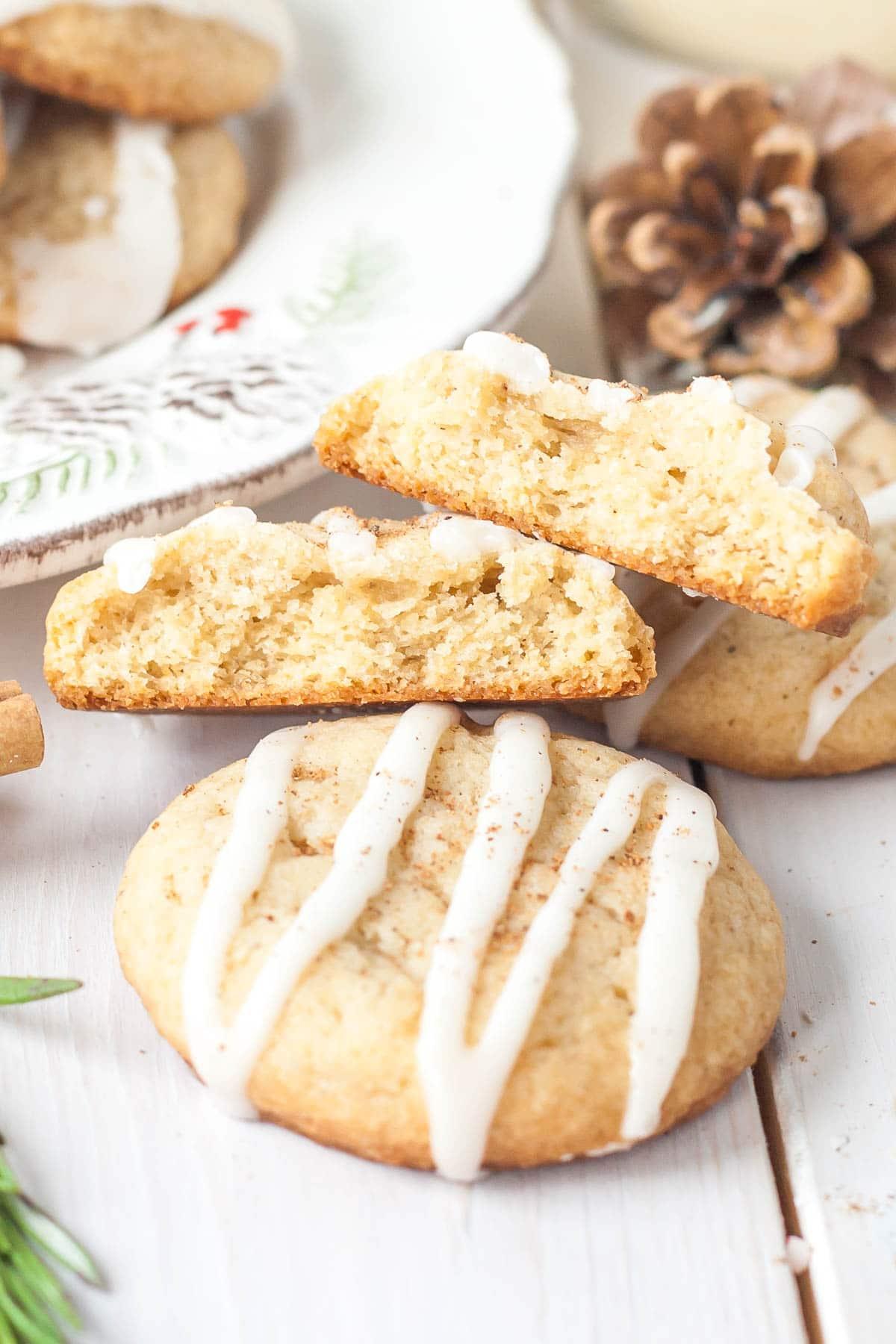 Cookies cut in half.