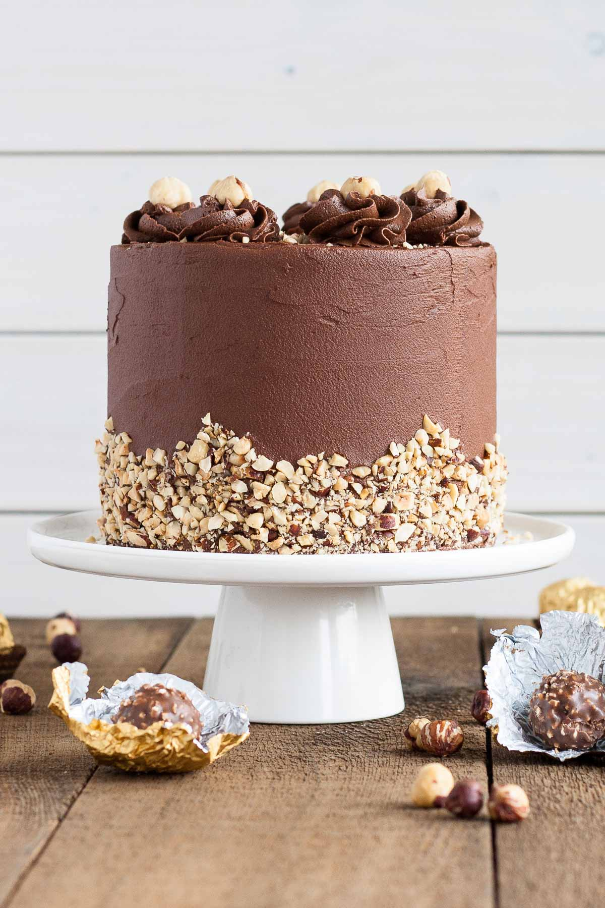 Ferrero Rocher Cake with hazelnut meringue