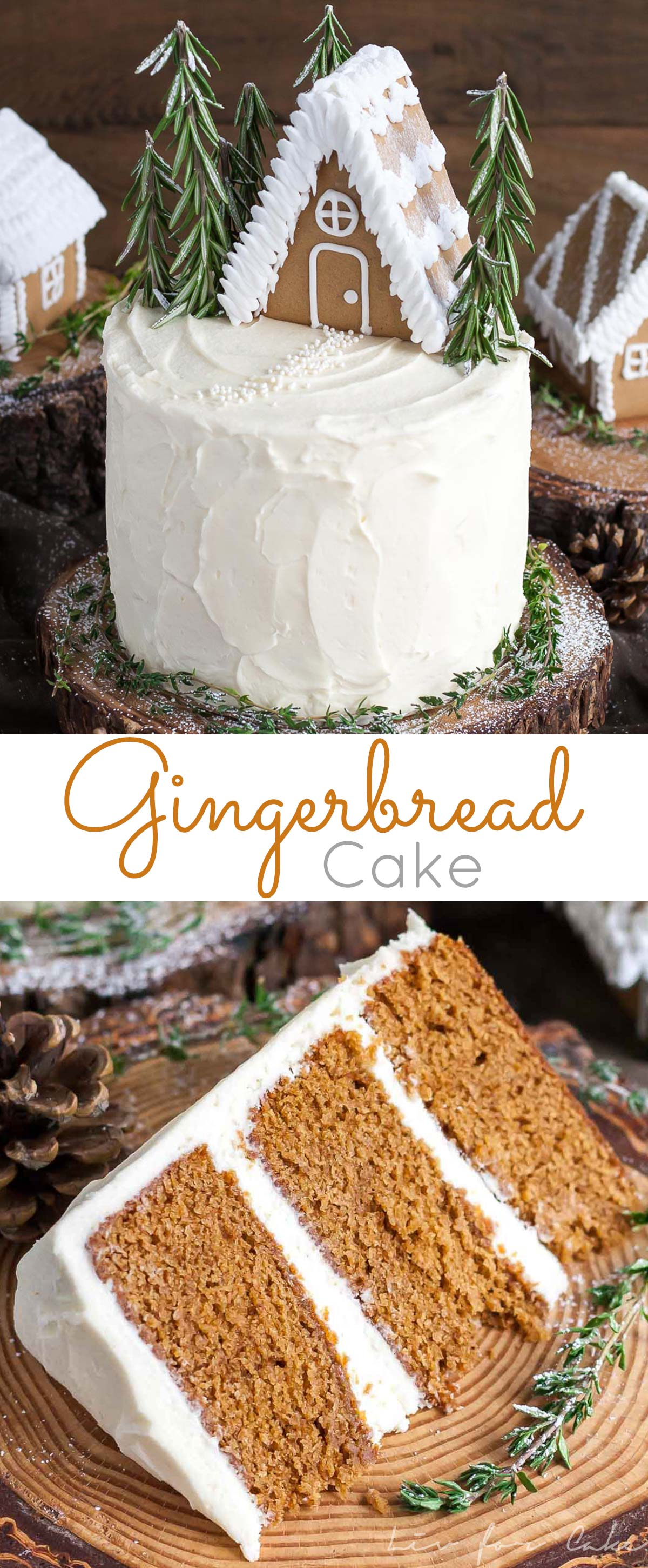 This Gingerbread Cake is perfect for the holidays! A moist and delicious ginger cake with a tangy cream cheese frosting. | livforcake.com
