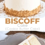 This Biscoff Cake pairs fluffy vanilla cake layers with a sweet cookie butter frosting and crushed speculoos cookies.   livforcake.com