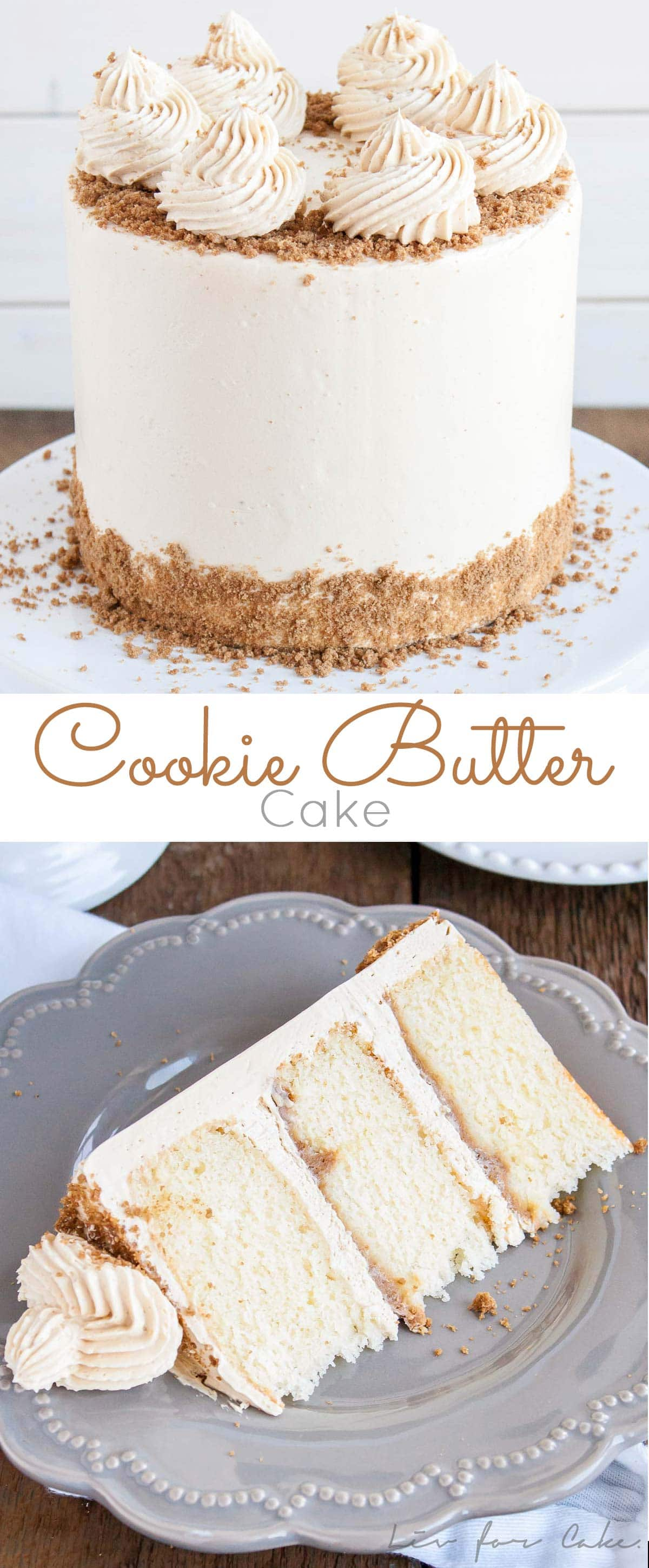 This Cookie Butter Cake pairs fluffy vanilla cake with a sweet cookie butter frosting and crushed speculoos cookies for some added crunch. | livforcake.com
