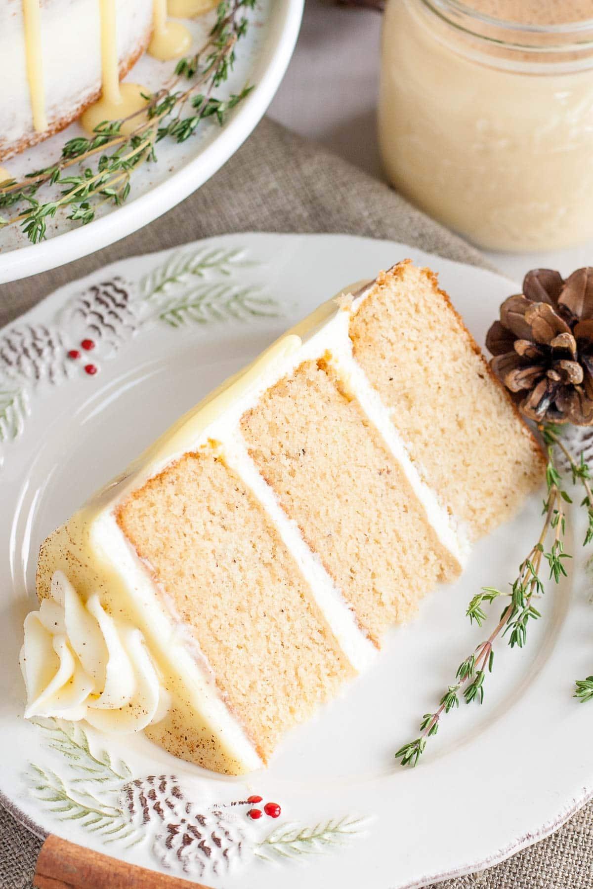 Eggnog cake slice.