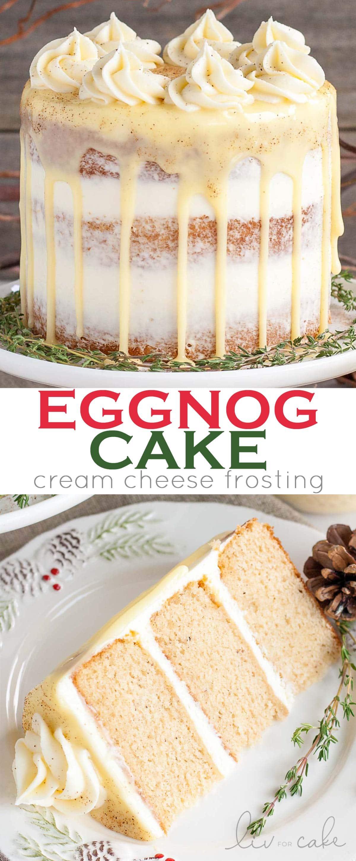 Eggnog Cake collage