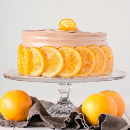 Cake on a glass cake stand.