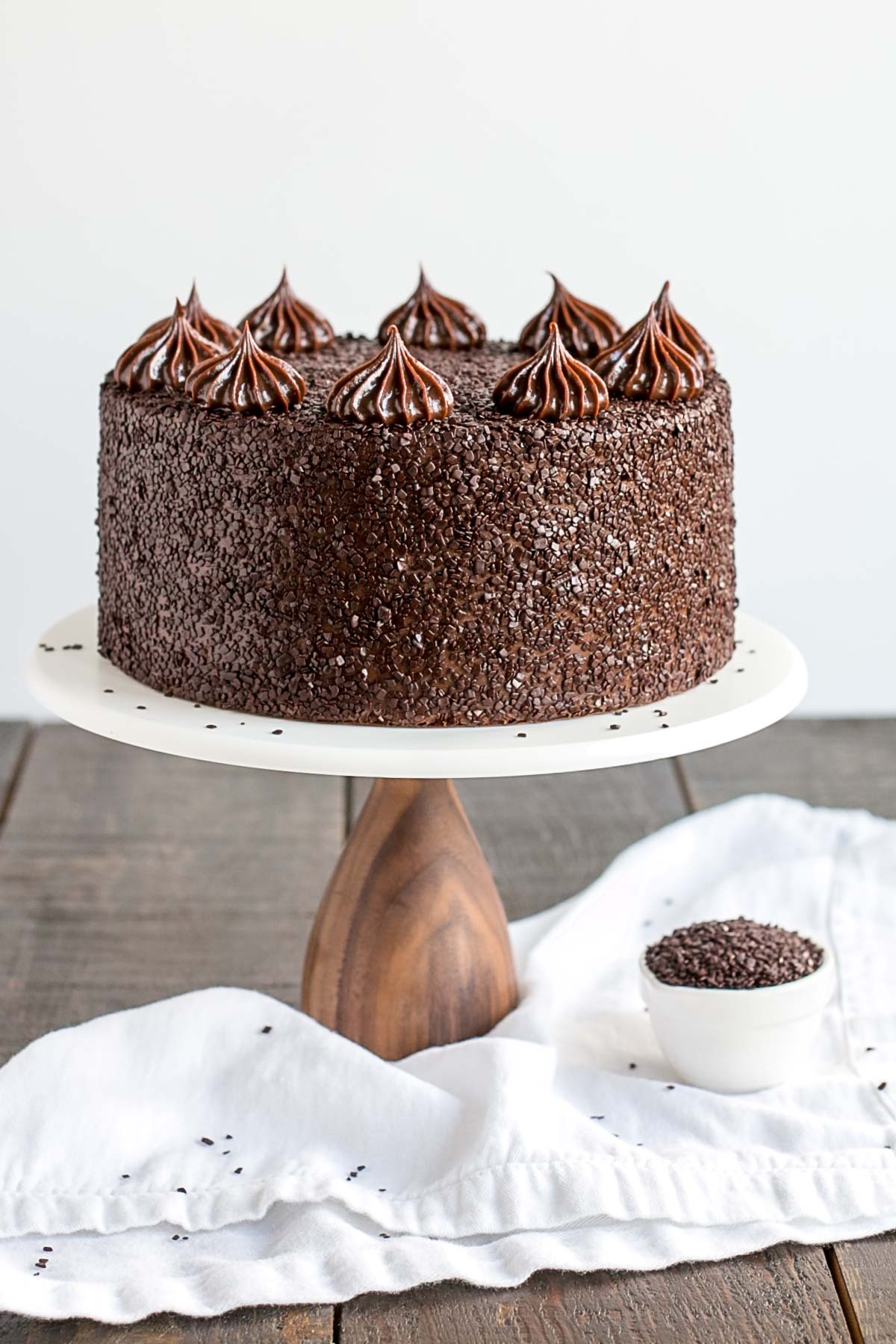 A chocolate cake sitting on top of a table