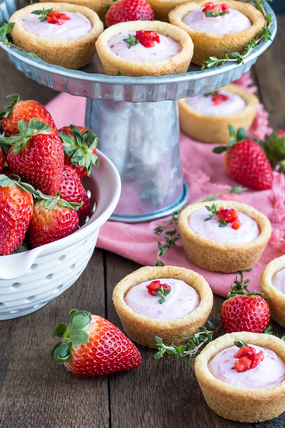 cookie cups and strawberries