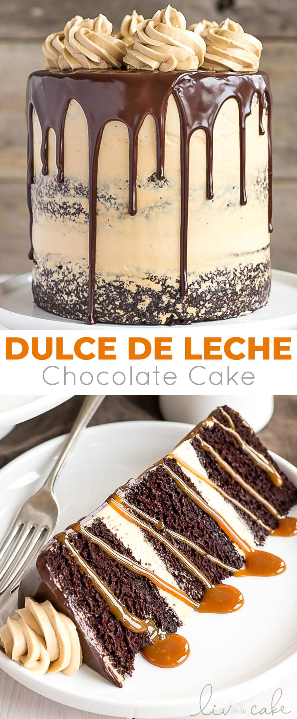 Chocolate Dulce de Leche Cake collage