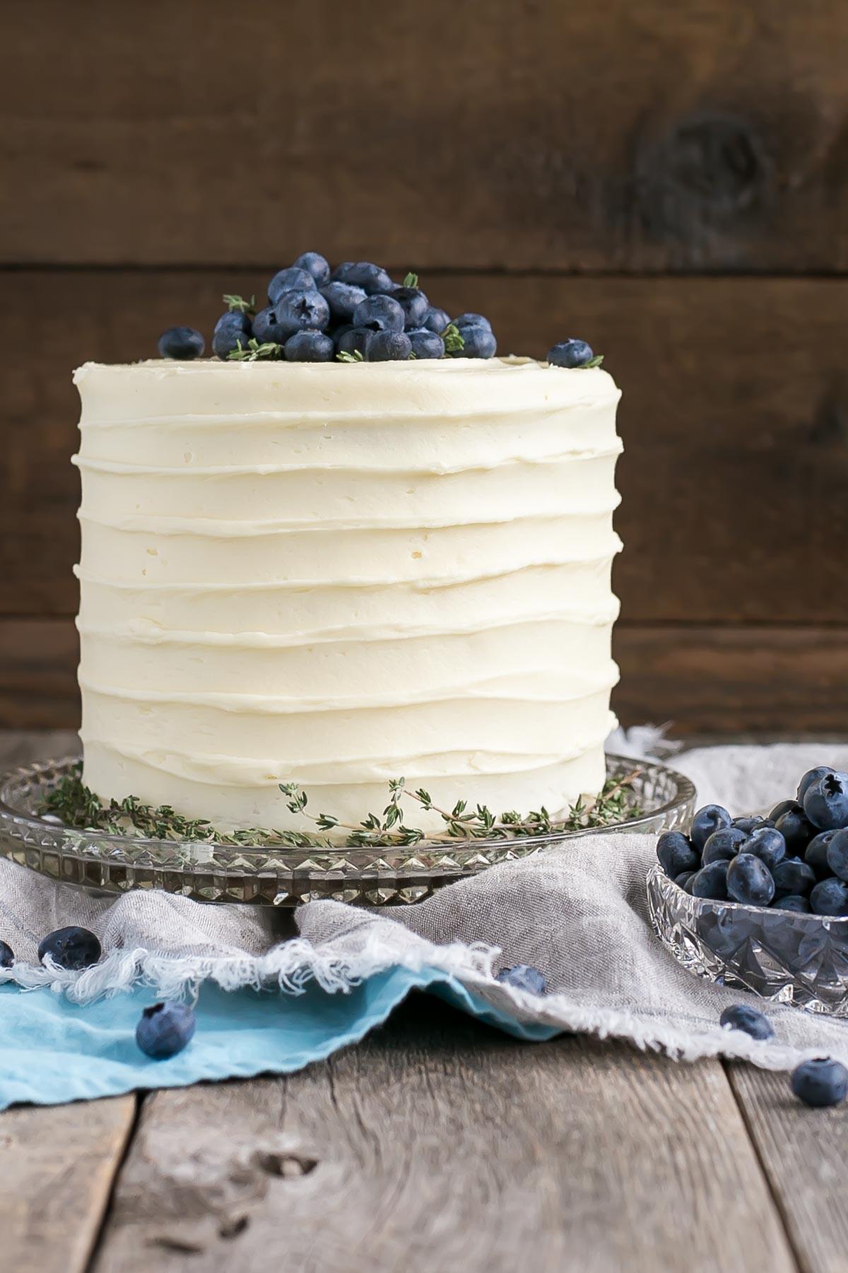Banana Cake recipe with fresh blueberries.