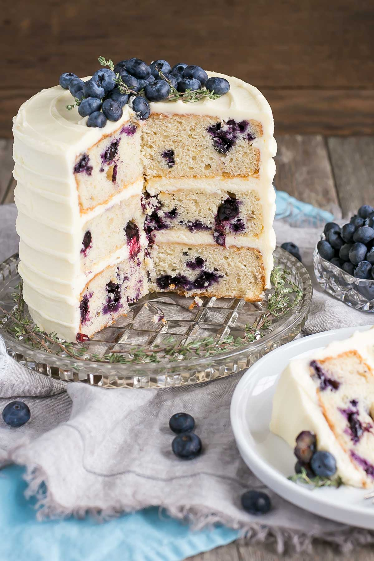 Cross section of this Blueberry Banana Cake.
