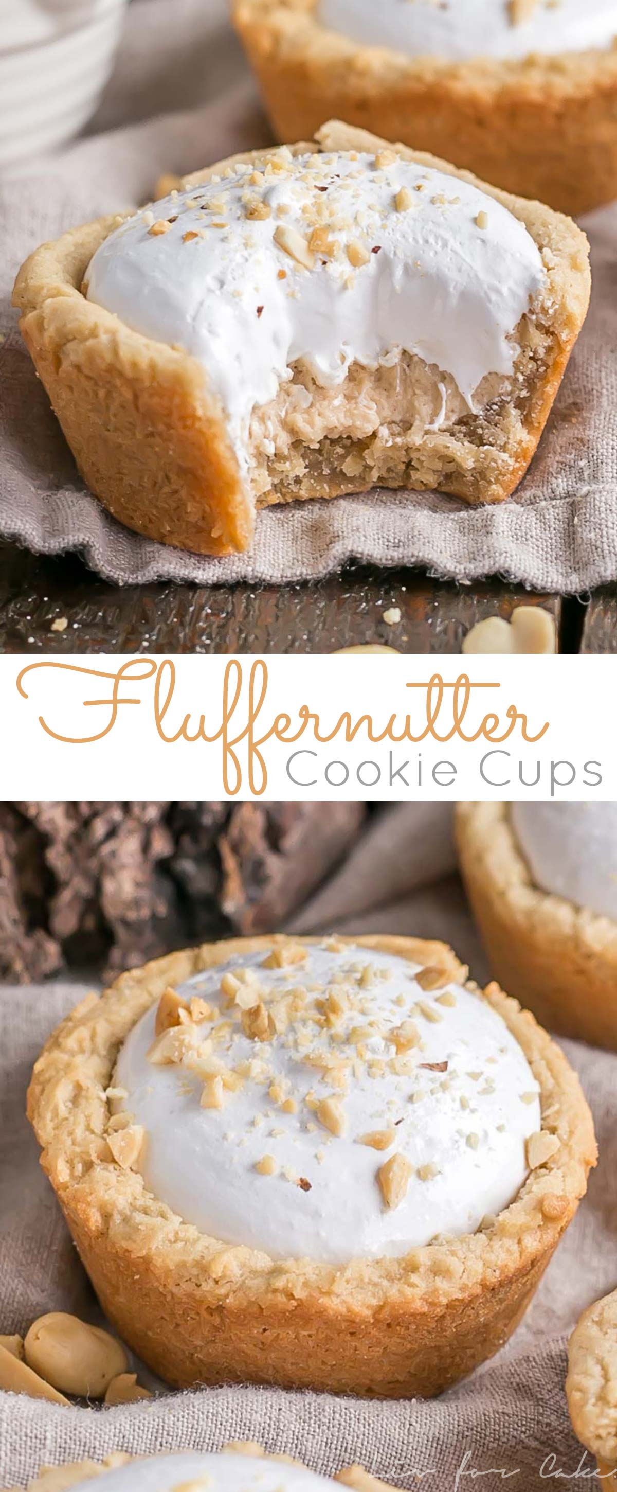Fluffernutter Cookie Cups! The classic peanut butter and marshmallow fluff sandwich gets a major makeover into these delicious treats. | livforcake.com