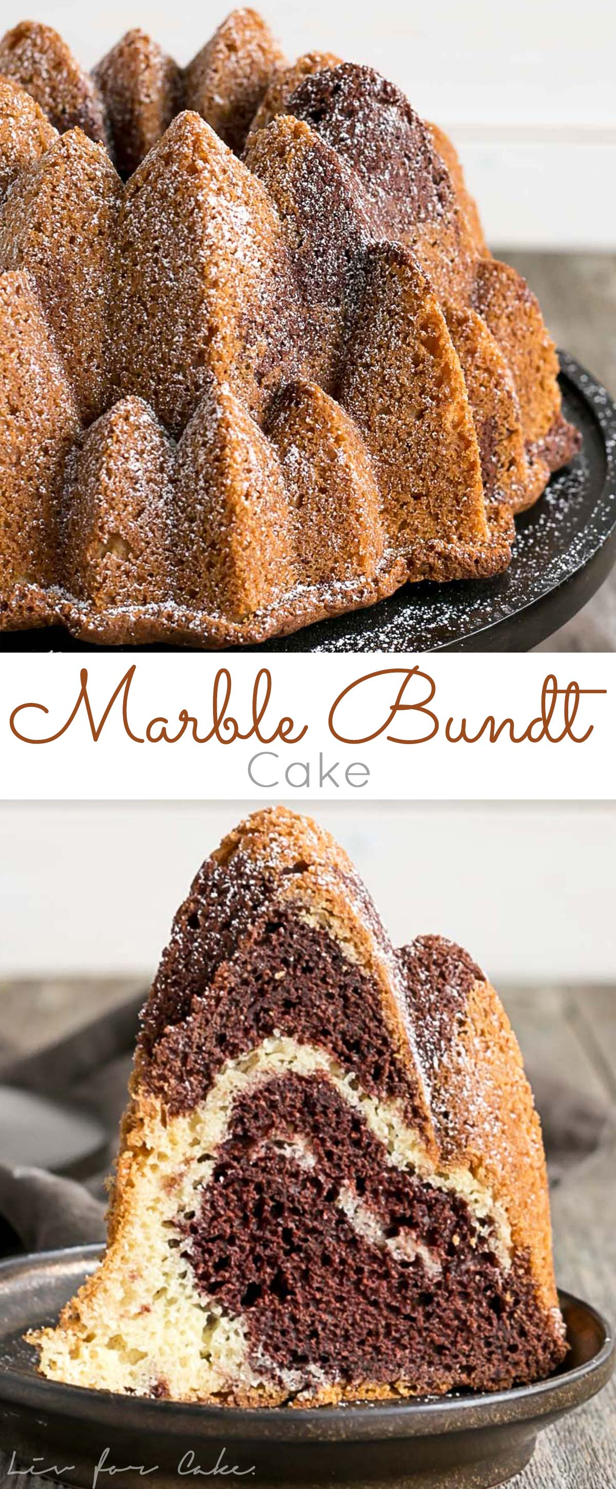 This classic marble bundt cake is the perfect addition to any party or afternoon tea. | livforcake.com