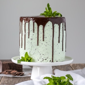 Cake on a white cake stand with mint garnish.
