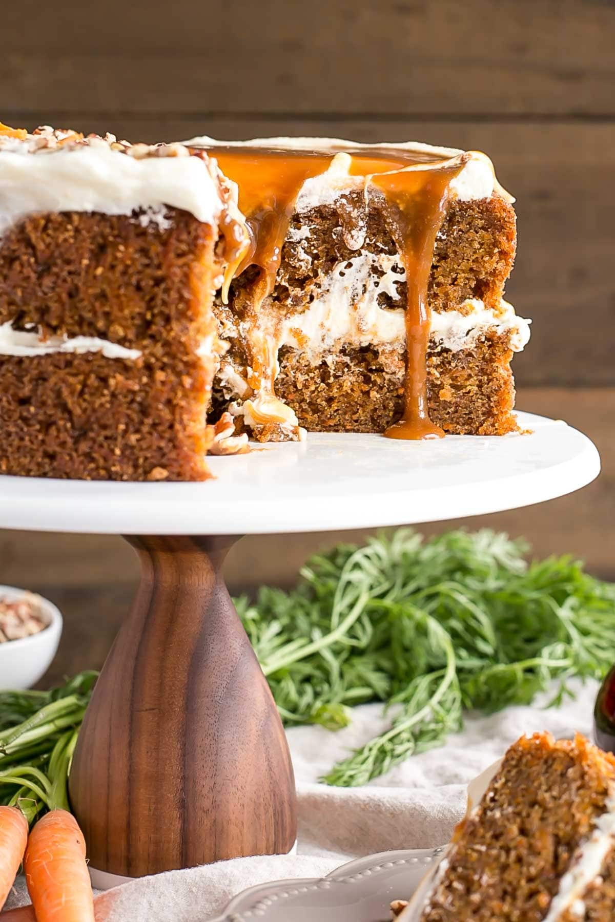 Carrot Cake on a cake stand.