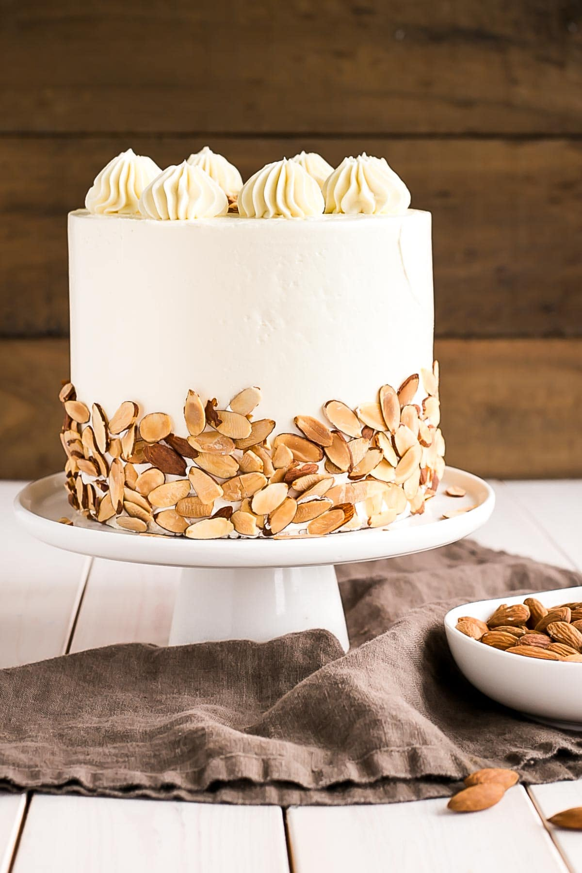 Almond cake layers infused with Amaretto liqueur paired with a classic vanilla buttercream