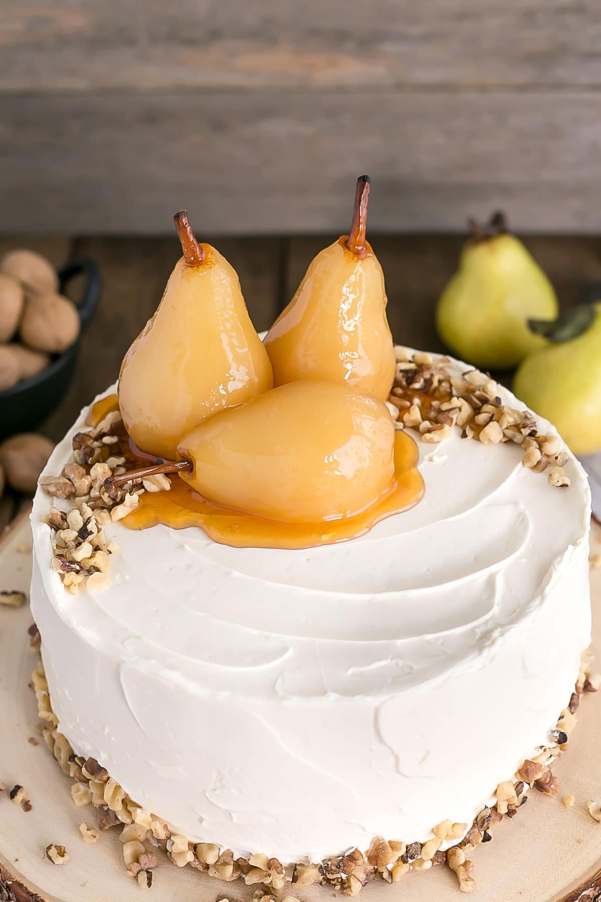 Close up of the pears on top of the cake.
