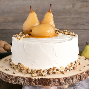 This Pear & Walnut Cake with Honey Buttercream is the perfect way to kick off the Fall season.   livforcake.com