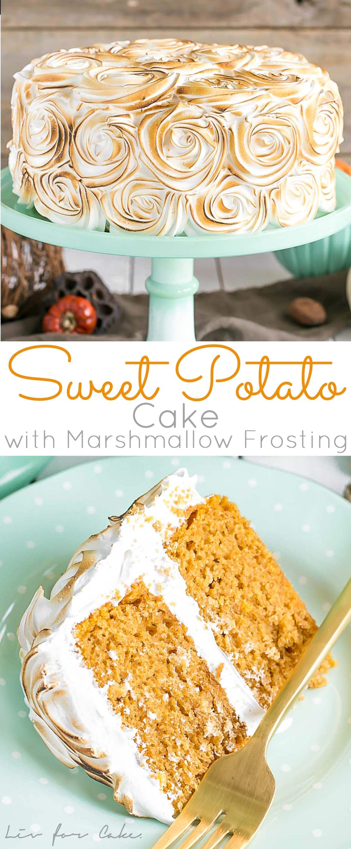 Transform a traditional Thanksgiving side dish into the perfect dessert with this Sweet Potato Cake with Marshmallow Frosting. | livforcake.com
