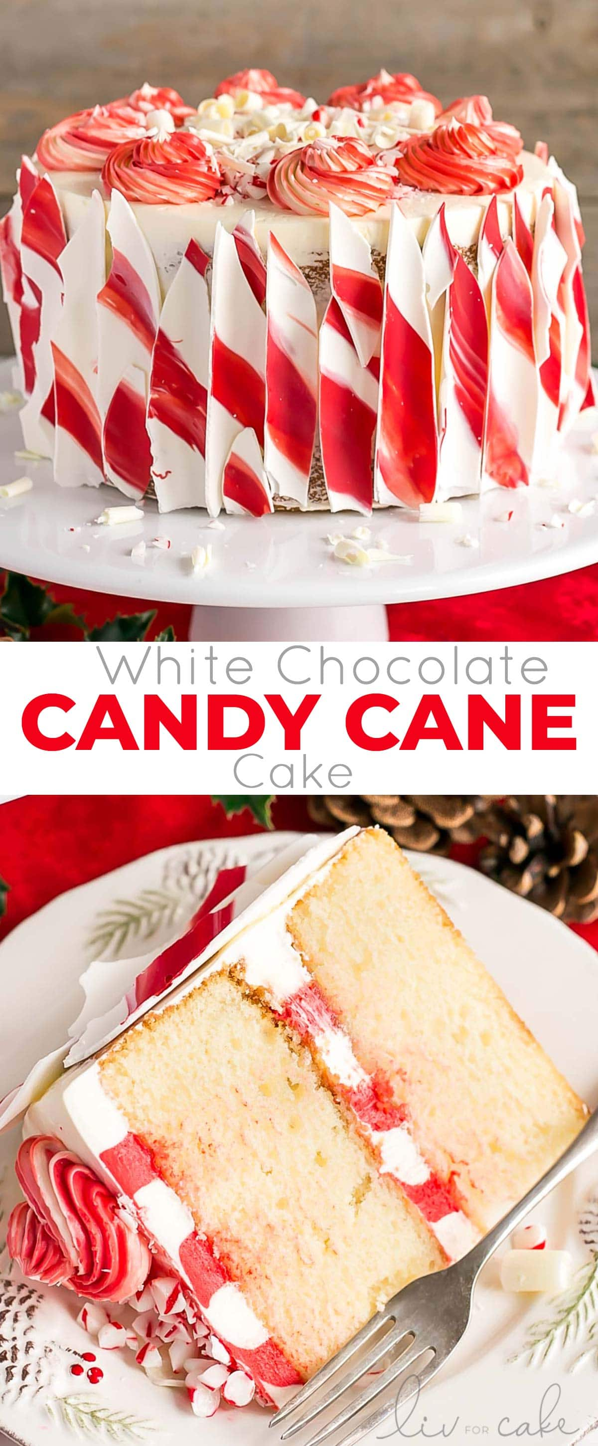 White Chocolate Candy Cane Cake photo collage