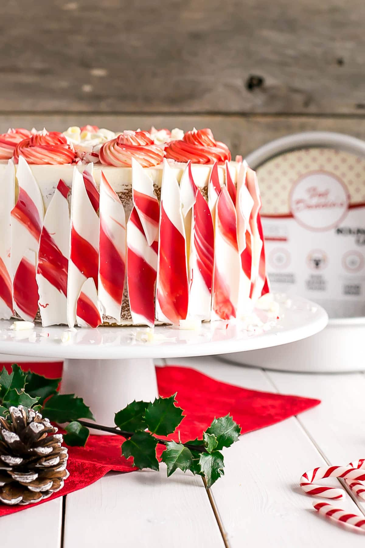 Close up of the striped candy cane bark on the side of the cake.