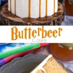 Butterbeer Cake! Butterscotch cake, cream soda, and marshmallow all in one spellbinding dessert. The perfect Harry Potter Cake!   livforcake.com