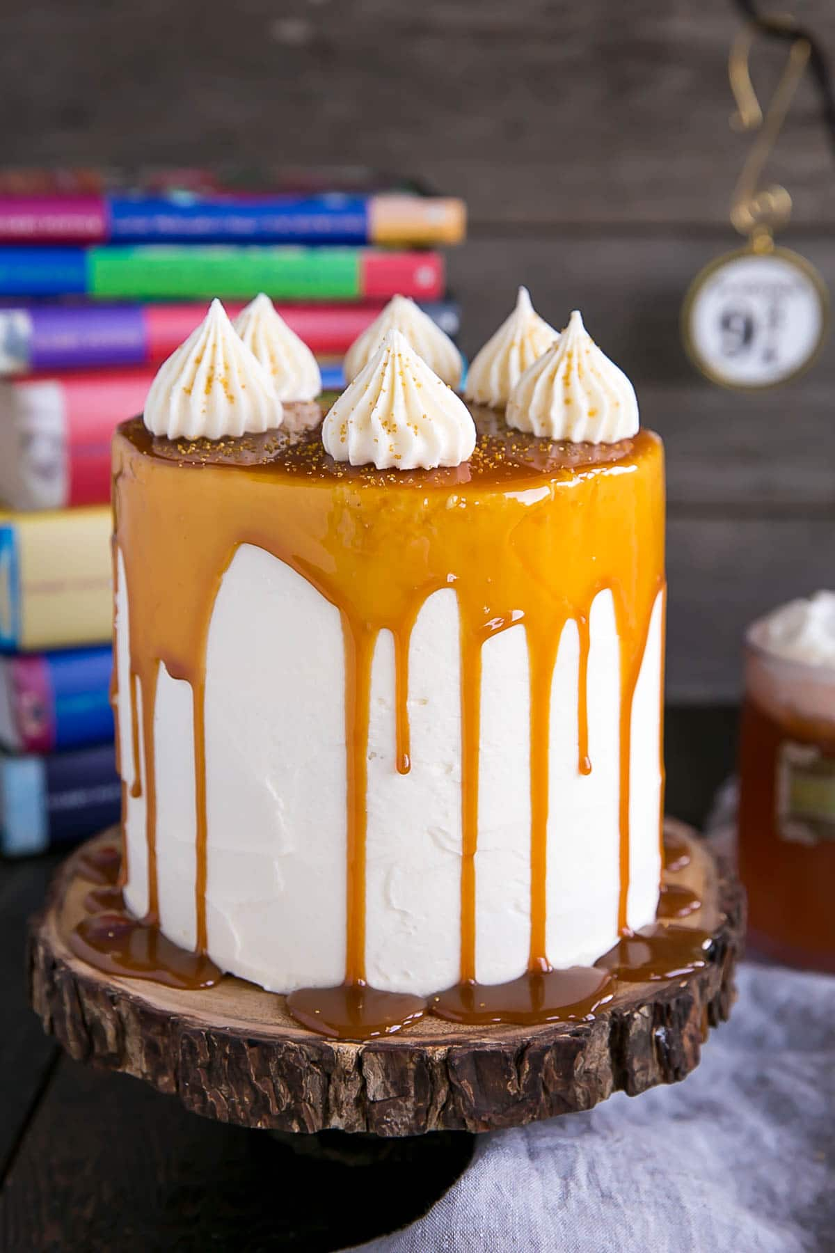 Butterbeer Cake made with butterscotch, cream soda, and marshmallow.
