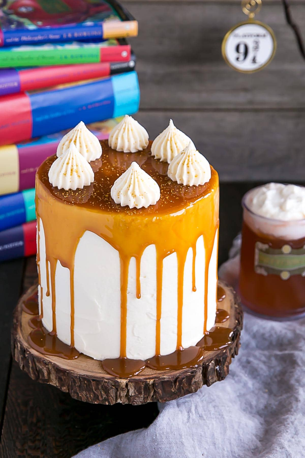 Harry Potter Butterbeer Cake with a butterscotch drip.