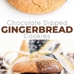 These Chocolate Dipped Gingerbread Cookies are the perfect treat for the holiday season! Chewy ginger spiced cookies dipped in dark chocolate.| livforcake.com