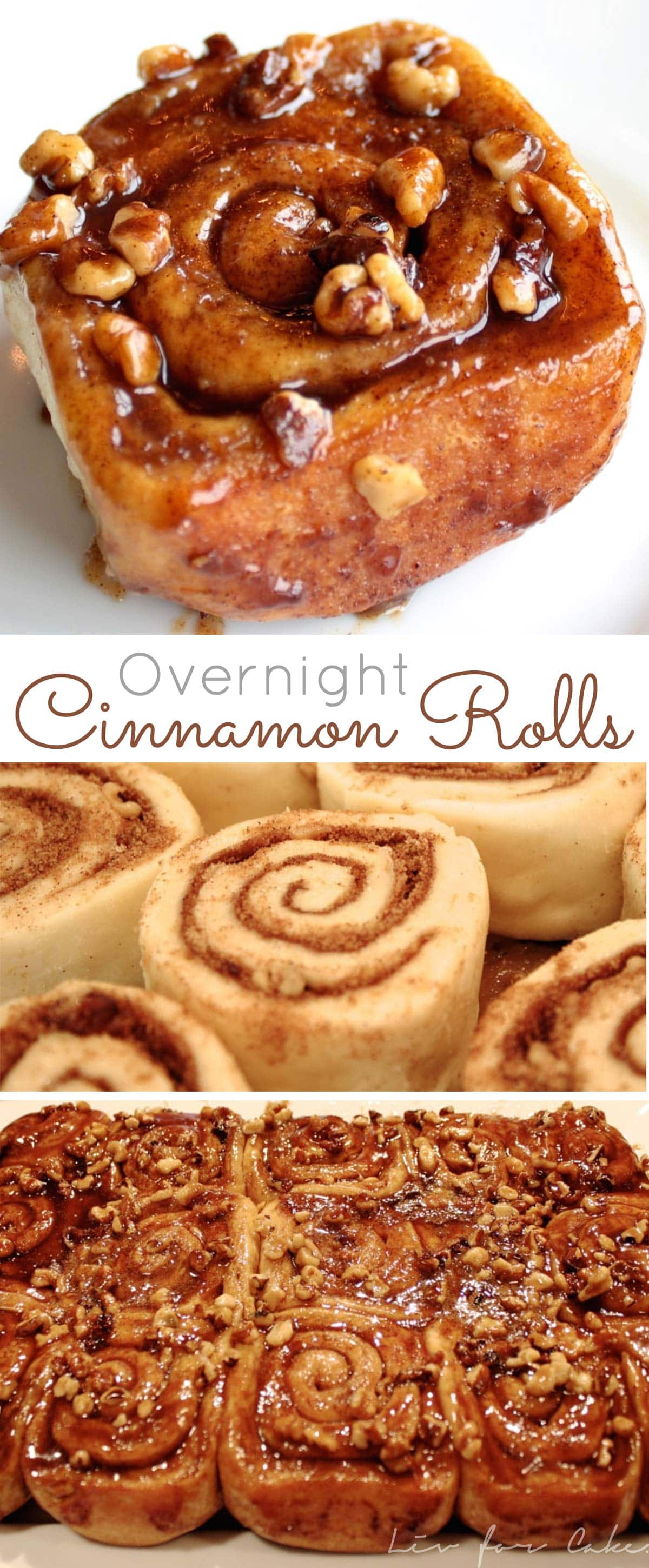This easy overnight cinnamon rolls recipe is a huge time saver! Make them in advance and pop them in the oven on Christmas morning. | livforcake.com