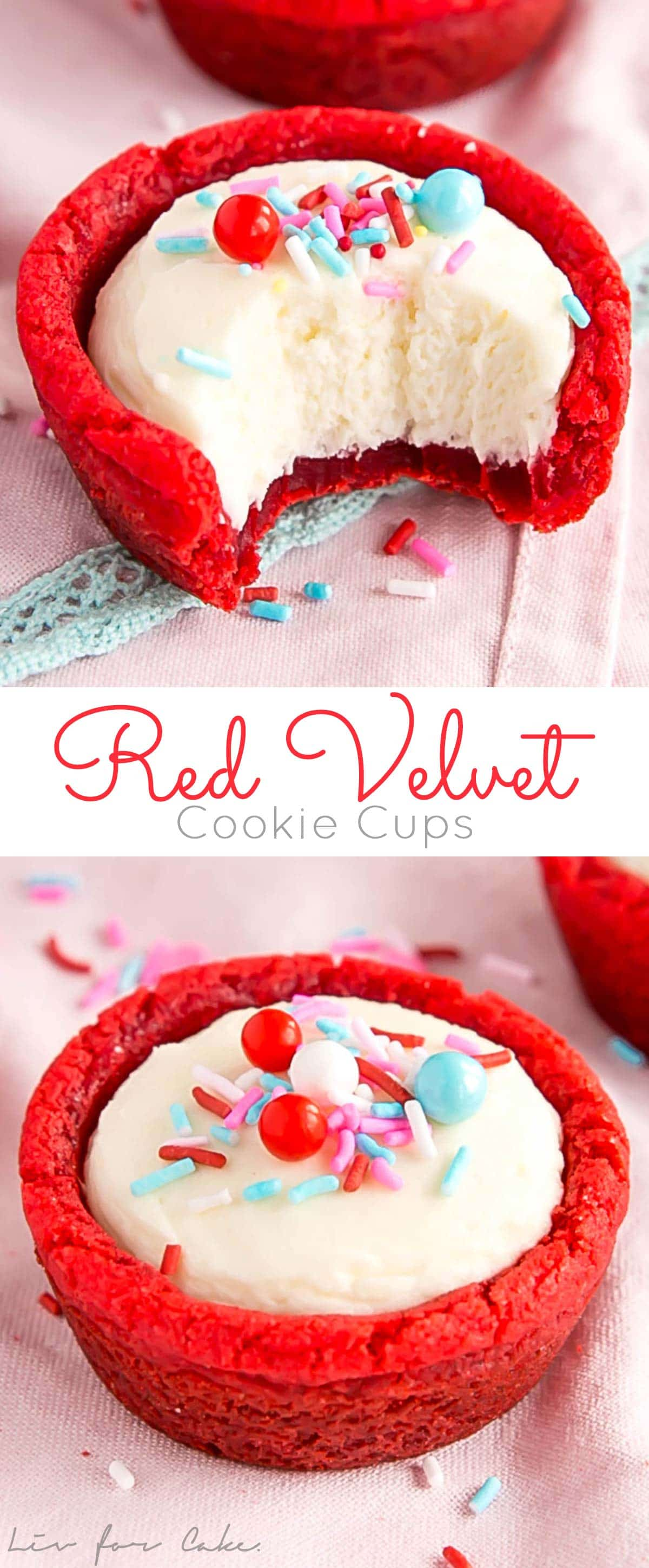 These Red Velvet Cookie Cups are a fun and easy treat to make for the one you love! Cinnamon spiced cookies with a fluffy cheesecake filling. | livforcake.com