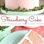 This delicious from scratch Strawberry Cake is paired with fresh strawberries and mascarpone buttercream. No artificial colors or flavours!   livforcake.com