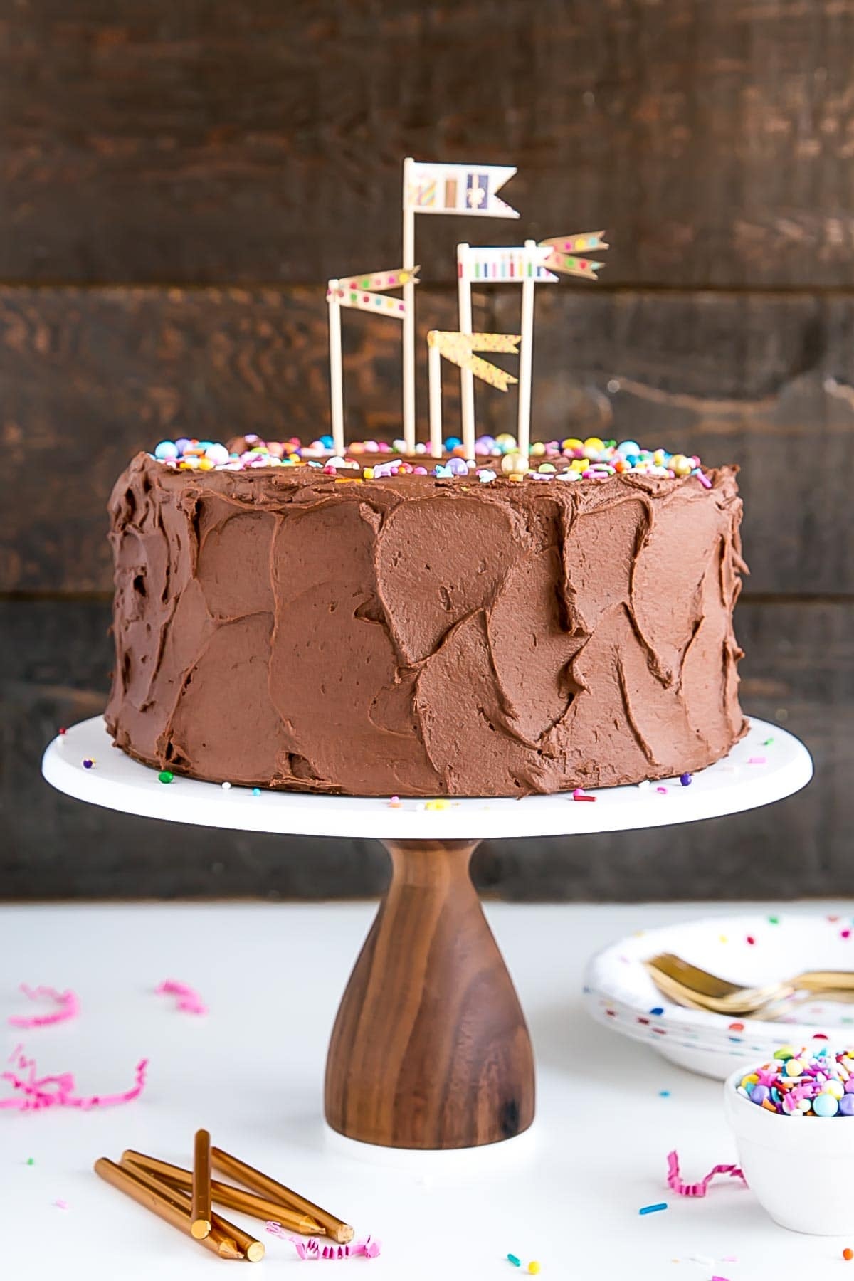 The Ultimate Birthday Cake A Classic Yellow With Rich Chocolate Frosting And Colorful