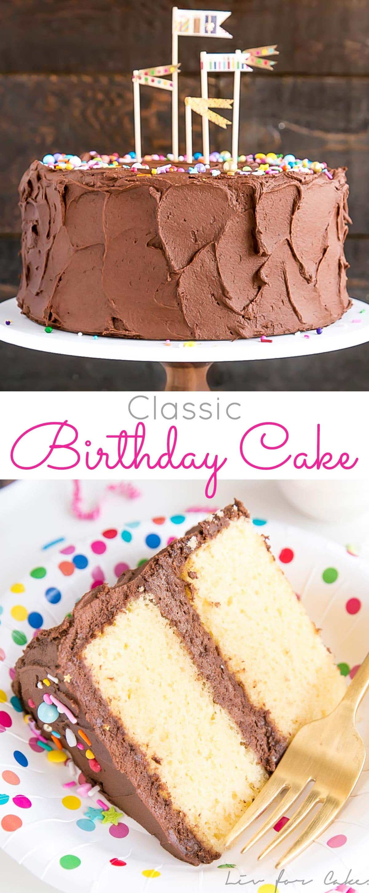The ultimate birthday cake! A classic yellow cake with a rich chocolate frosting and colorful sprinkles. | livforcake.com