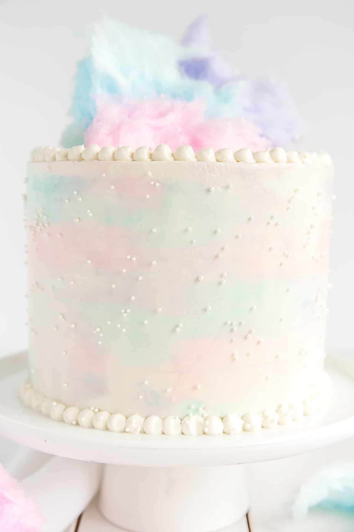 Cotton Candy Cake close up of watercolor frosting effect.