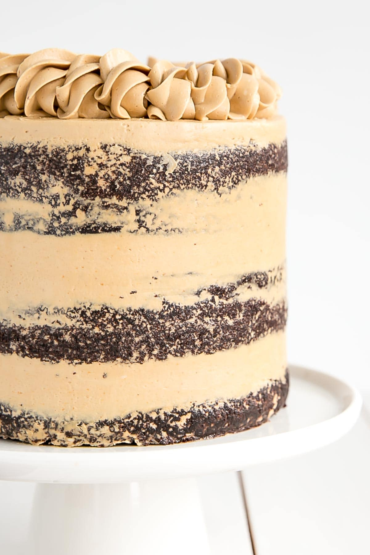 Chocolate layer cake with peanut butter Swiss meringue buttercream.