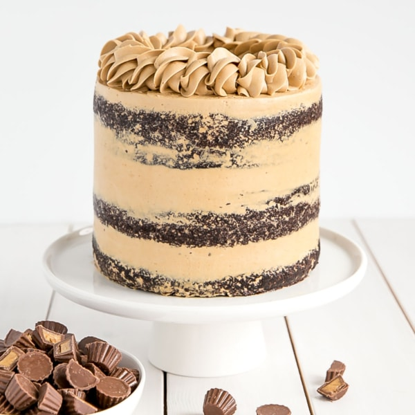 This Peanut Butter Chocolate Cake is pure decadence! Rich chocolatey layers and a silky peanut butter frosting. | livforcake.com