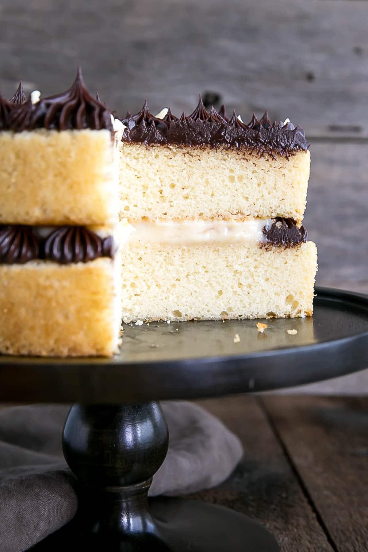 Boston Cream Pie with pastry cream and chocolate ganache